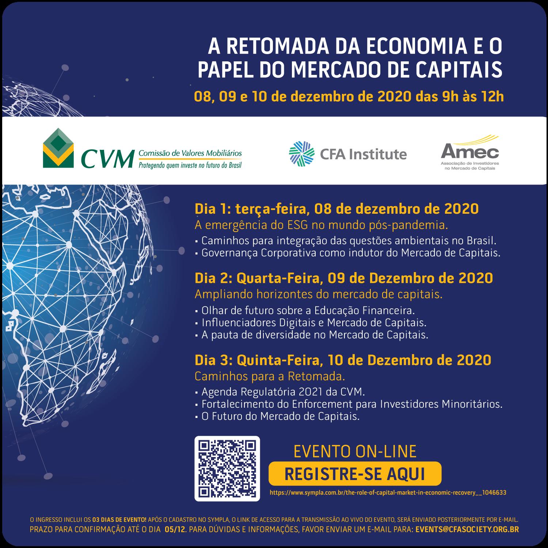 Educação financeira, influencers e diversidade serão temas abordados no 2º dia do evento Amec em parceria com a CVM e o CFA Society
